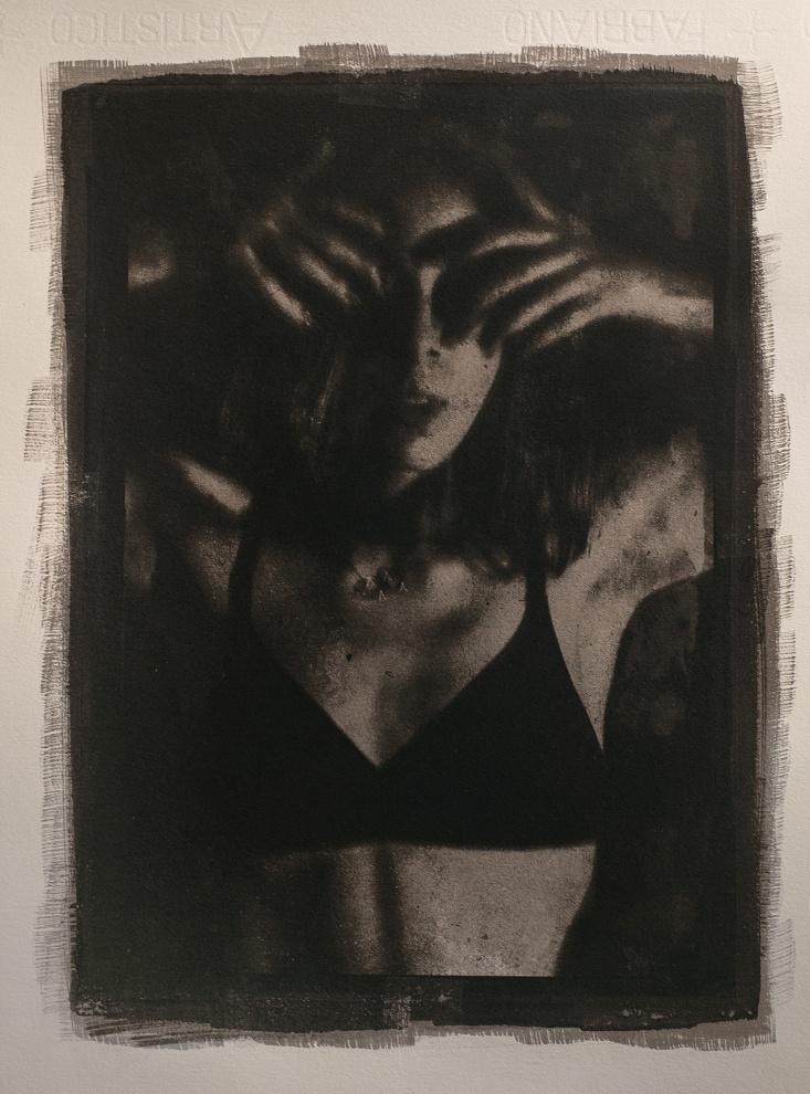 (What has to happen happens) - Opera nata subito dopo il periodo di lockdown 2020: Gum over Cyanotype on Fabriano Artistico paper cm31X22