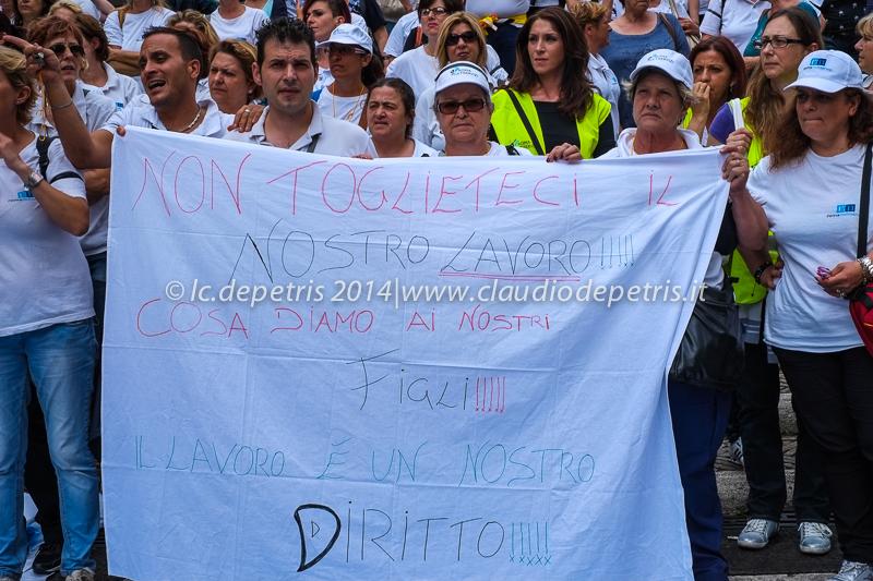 sit-in in capidoglio lavoratori roma multiservizi, 17/6/2014