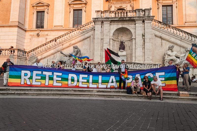 fiaccolata per la pace in palestina, piazza del campidoglio 16/7/2014