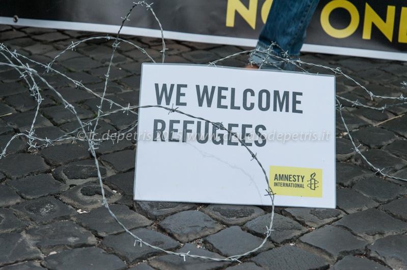 Con i migranti contro il muro costruito in Ungheria, 21/9/2015