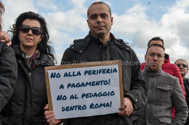 Raduno a Ponte di Nona contro l'aumento dei pedaggi autostradali, 10/1/2016